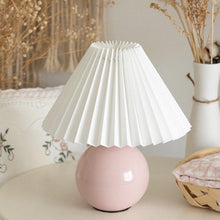 Load image into Gallery viewer, Pleated shade White/Pink Shiny finish Desk Lamp