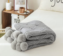 Load image into Gallery viewer, Bohemian Knitted Pom Pom Throw Blanket