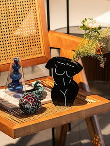 Acrylic Black Front/Back Body Vase