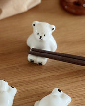 Load image into Gallery viewer, Ceramic Cute Polar Bear Chopstick Rest/ Brush Rest Set