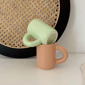 Ceramic Cute Tall Mug with strong handle