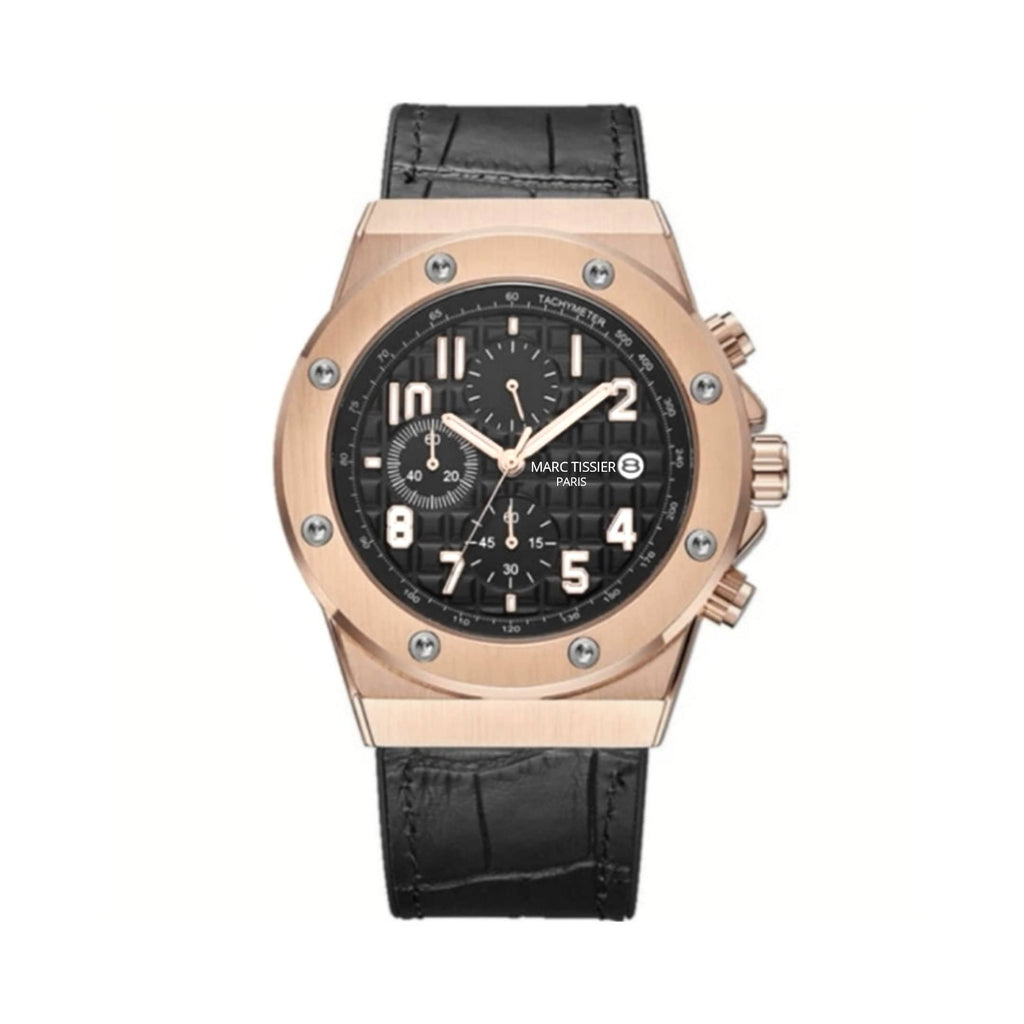 MARC TISSIER - BEL AIR - 43 mm Noir & or montre homme luxe et fashion