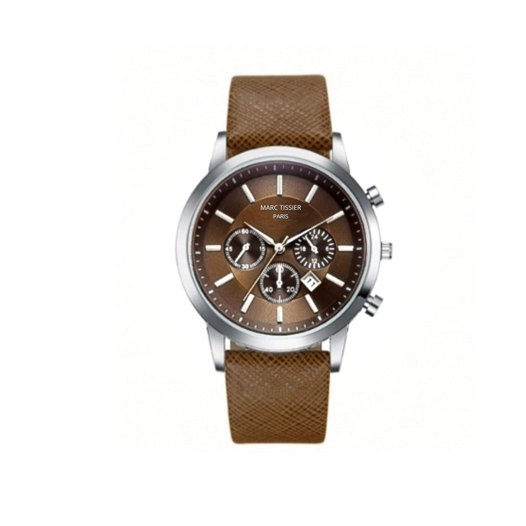 MARC TISSIER-  PANTHEON- 42 mm Marron- montre pas cher quartz