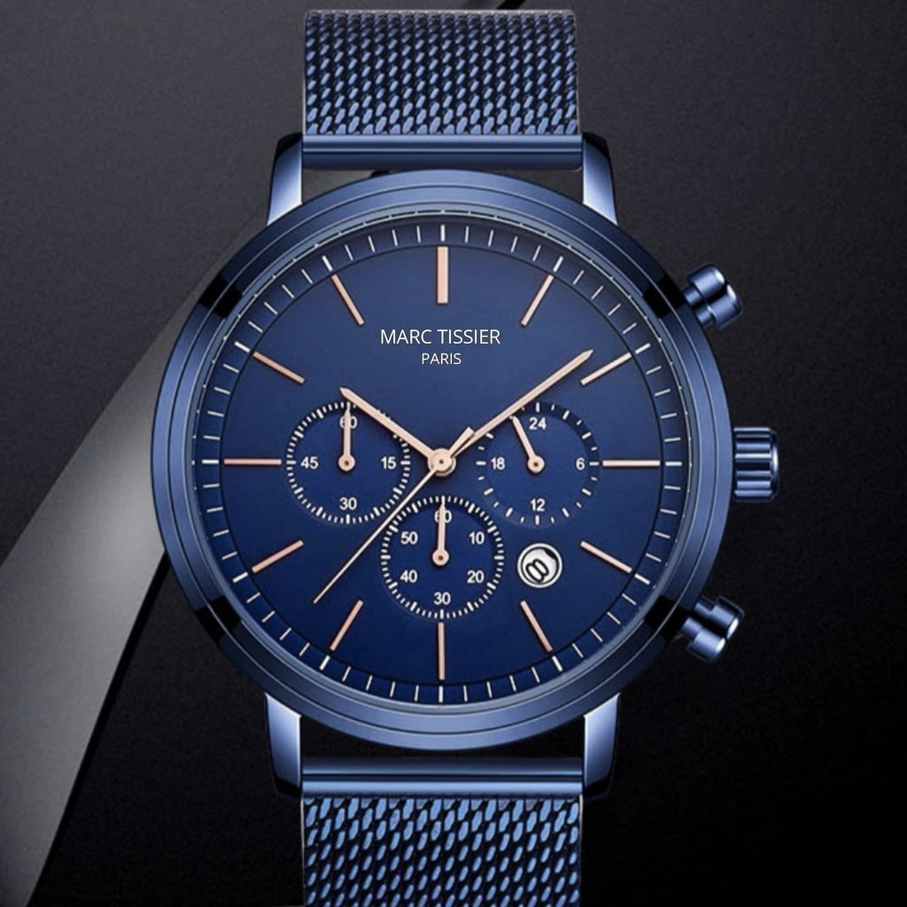 MARC TISSIER - AUGUSTE - 40mm, Bleu montre homme fashion