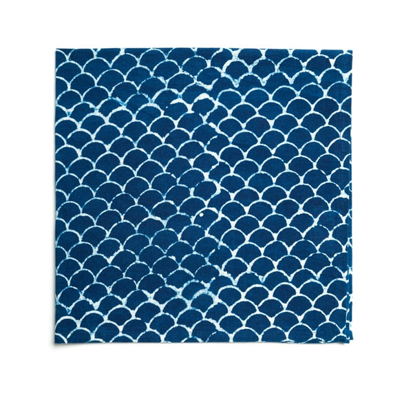 Indigo Fish Scales Hamptons Tea Towel