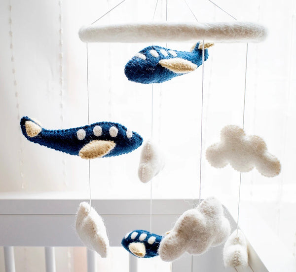 Nursery Cot Mobile - Navy Blue Airplanes