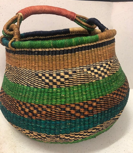 Bolga Pot Baskets - Green