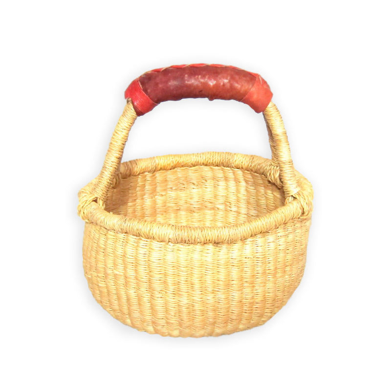 Small Round Bolga Basket – Natural