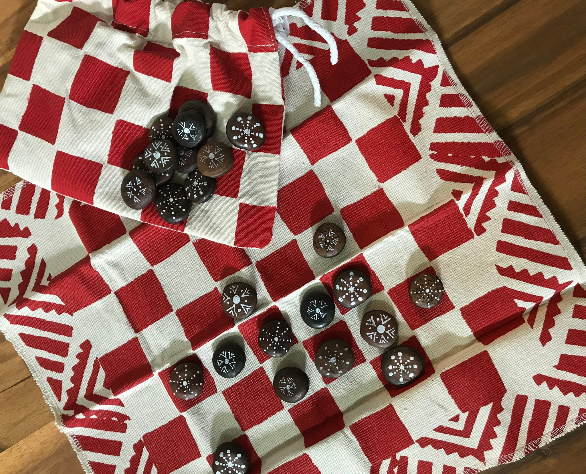 Handmade checkers set - red