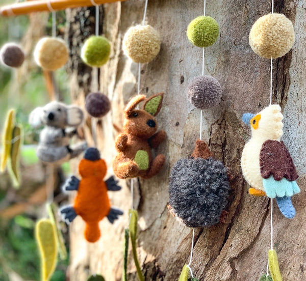 Nursery Cot Mobile Hanging - Australian Animals