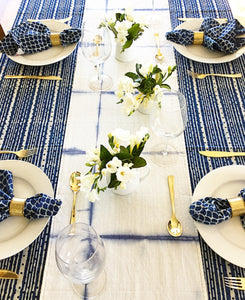 Indigo Dots and Stripes Tablecloth(150X220CM)