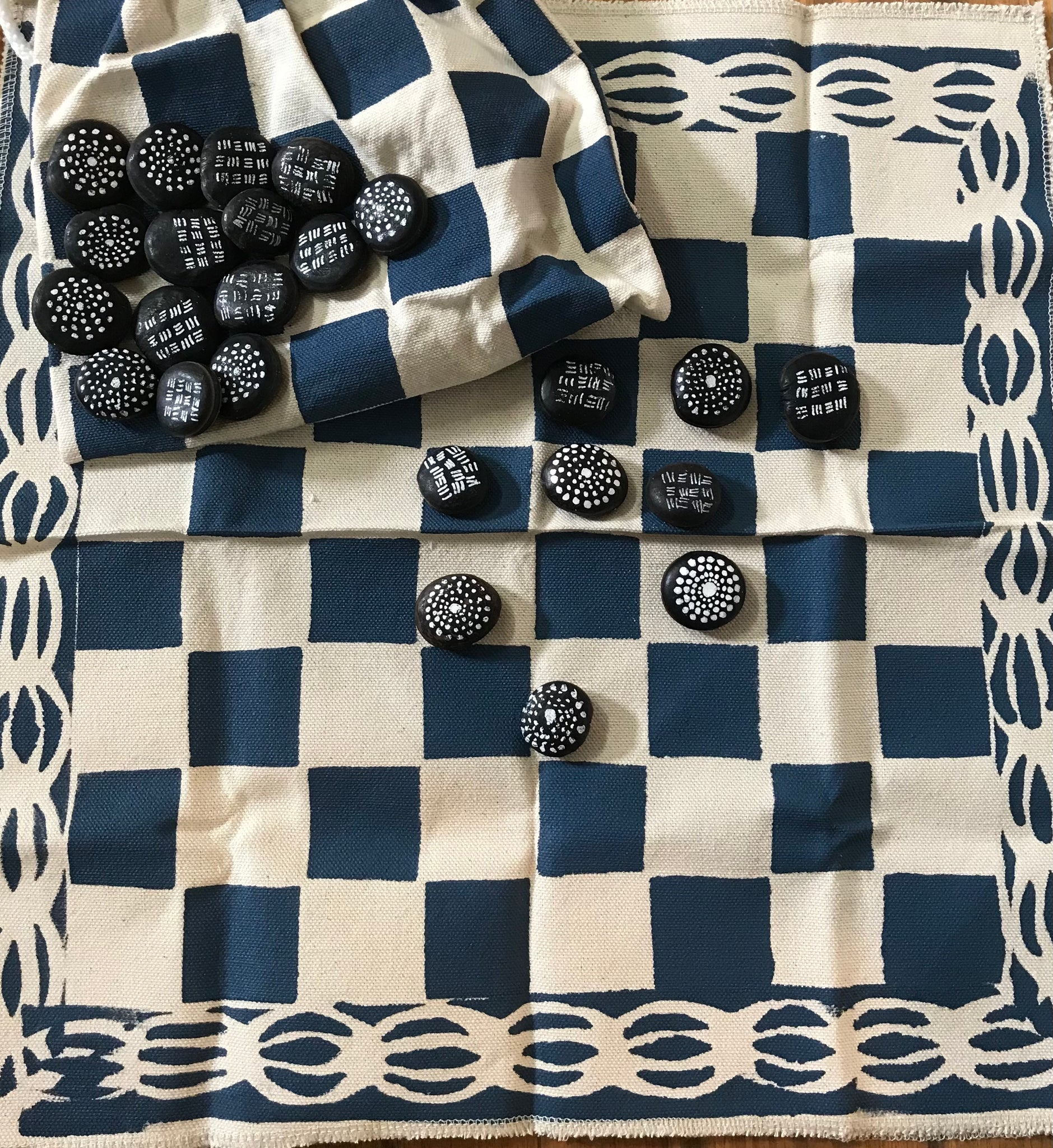 Handmade checkers set- Blue