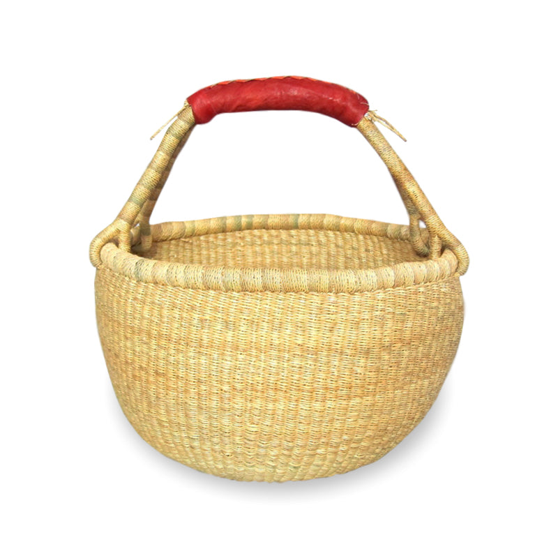 Large Round Bolga Basket – Natural