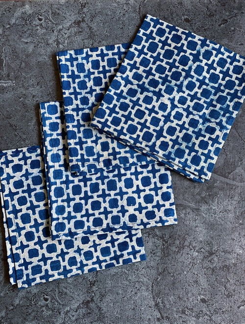 Indigo Tic Toc Napkins -Set of 4