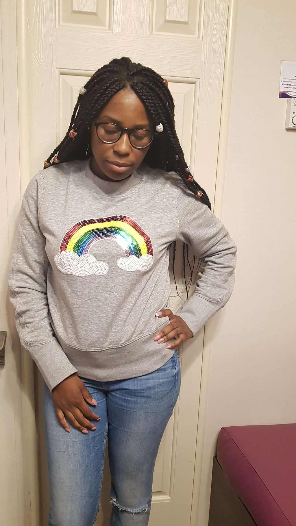 Rainbow sequence applique Sweater