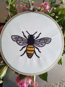 Bee embroidered wall art