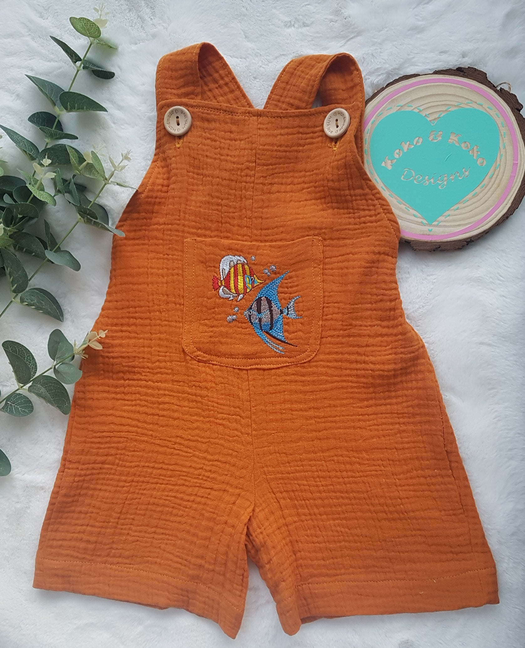Double gauze short  dungaree