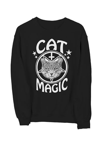 Cat Magic Sweatshirt White on Black