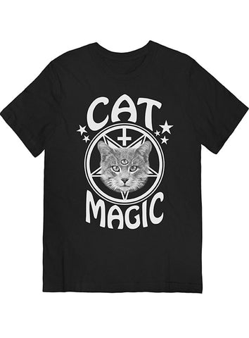 Cat Magic Occult Tee White on Black