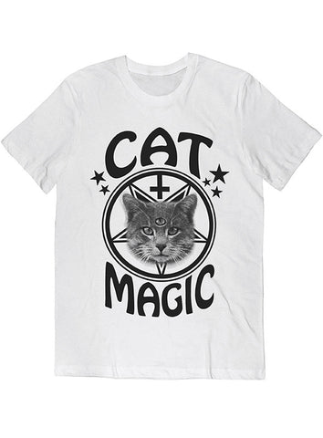 Cat Magic Occult Tee Black on White