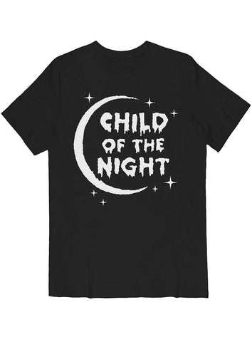 Child of the Night Tee White on Black