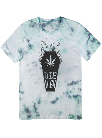 Die High Tee Black on Tie Dye