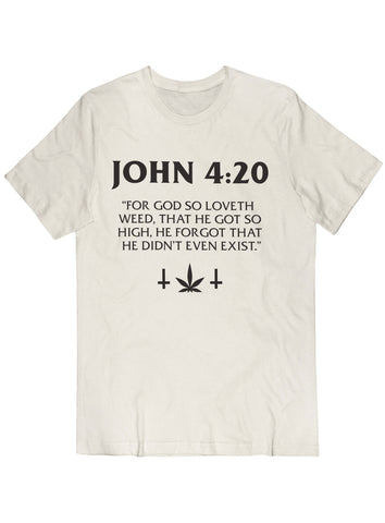 John: 420 Tee Black on Cream