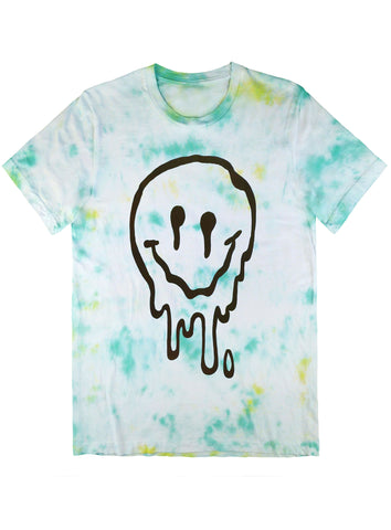 Melted Smiley Tee Black on Tie Dye