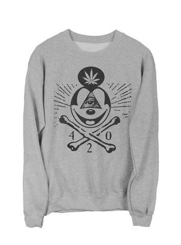 420 Skull & Mickey Mouse Bones Sweatshirt Black on Gray