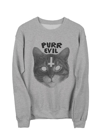 Purr Evil Cat Sweatshirt Black on Heather Gray