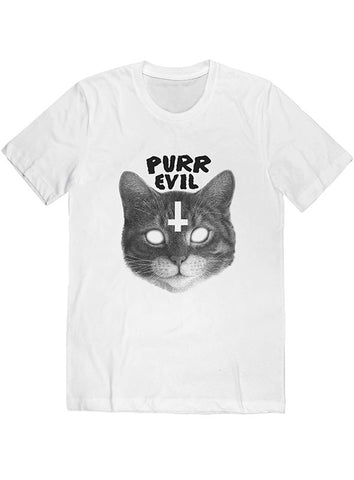 Purr Evil Cat Tee Black on White
