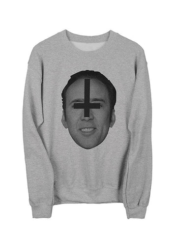 SataNic Nic Cage Sweatshirt  Black on Heather Gray