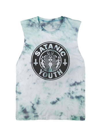 Satanic Youth Parody Sleeveless Tee Black on Tie Dye