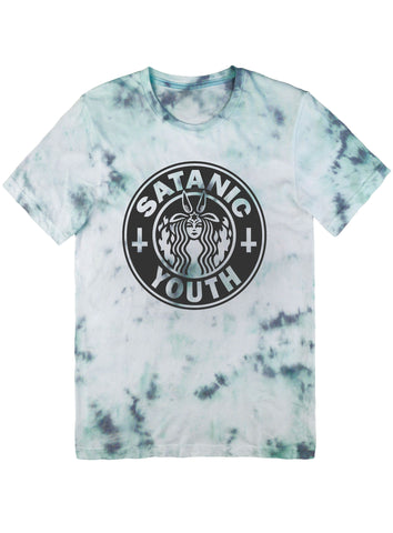 Satanic Youth Parody Tee Black on Tie Dye