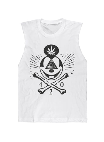 420 Skull & Mickey Mouse Bones Sleeveless Tee Black on White