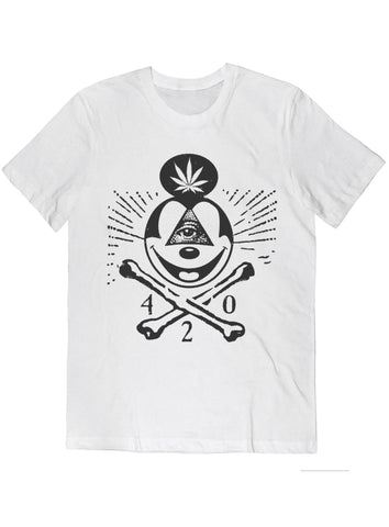 420 Skull & Mickey Mouse Bones Tee Black on White