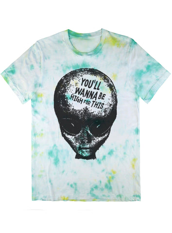 420 Friendly Alien Bro Tee Black on Tie Dye