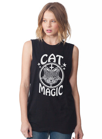 Cat Magic Occult Sleeveless Tee White on Black
