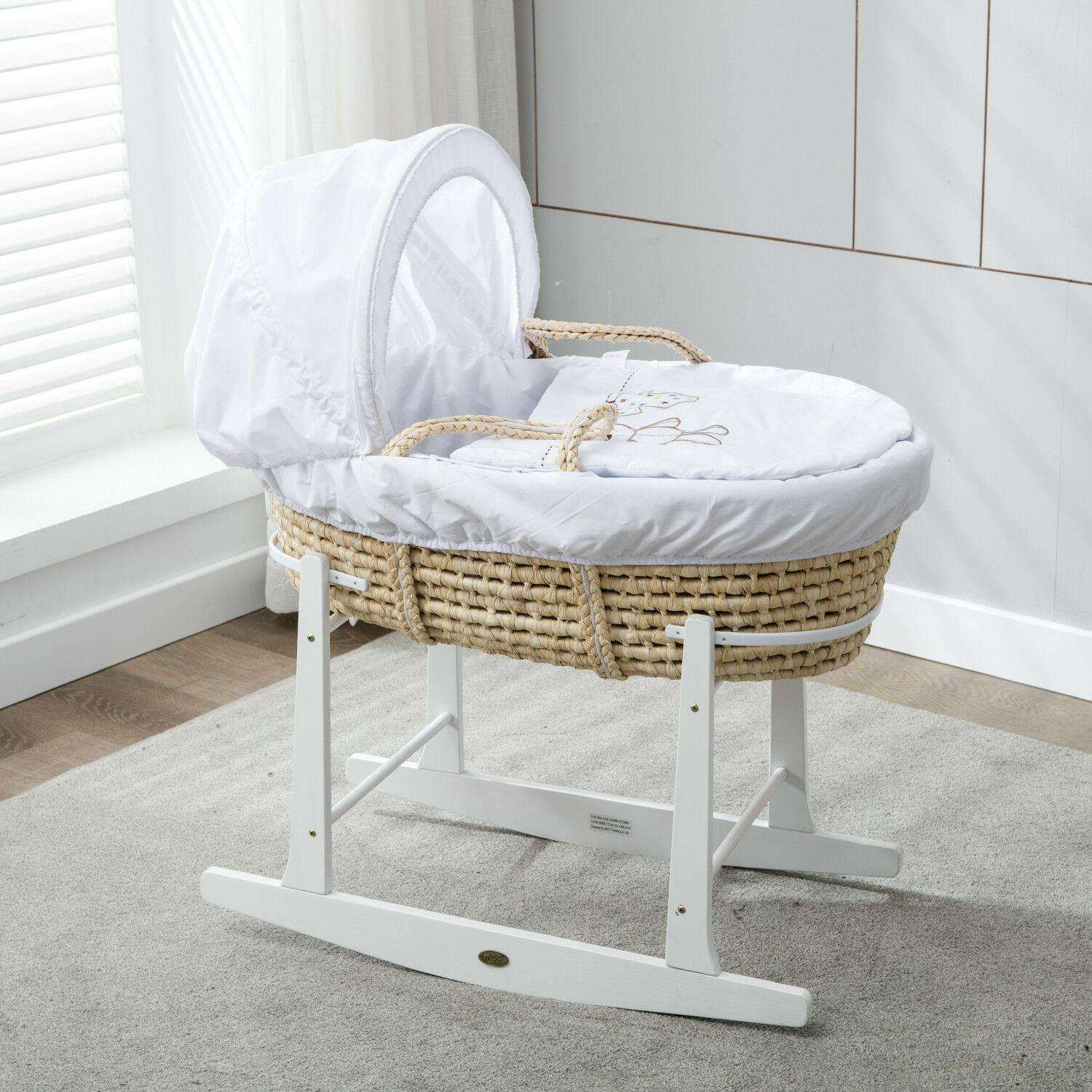 Full Set Natural Palm Moses Basket With Mattress