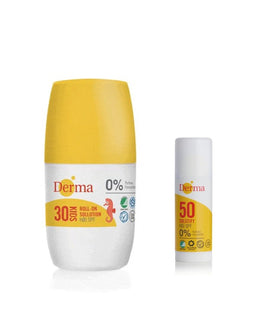 Derma Sun roll-on sollotion SPF30 50 ml + gratis Derma Solstift Høj SPF50, 15ml