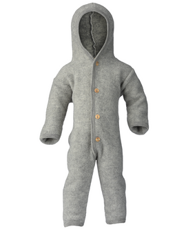 Engel Hooded Heldragt m. Knapper Light Grey Mélange