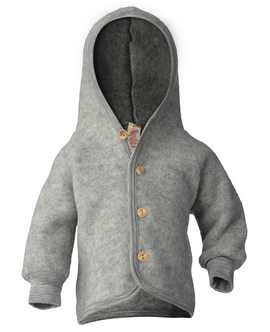 Engel Hooded Cardigan m. Træknapper Grey Mélange