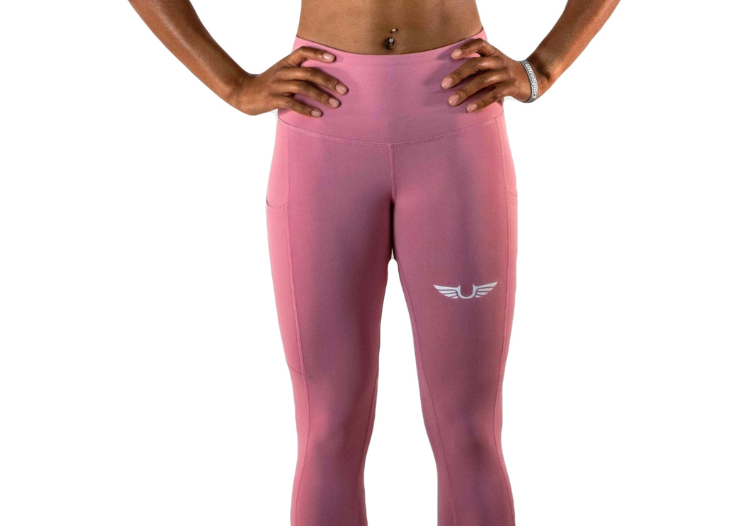 Womens Pink Leggings (full length)-UltroSport