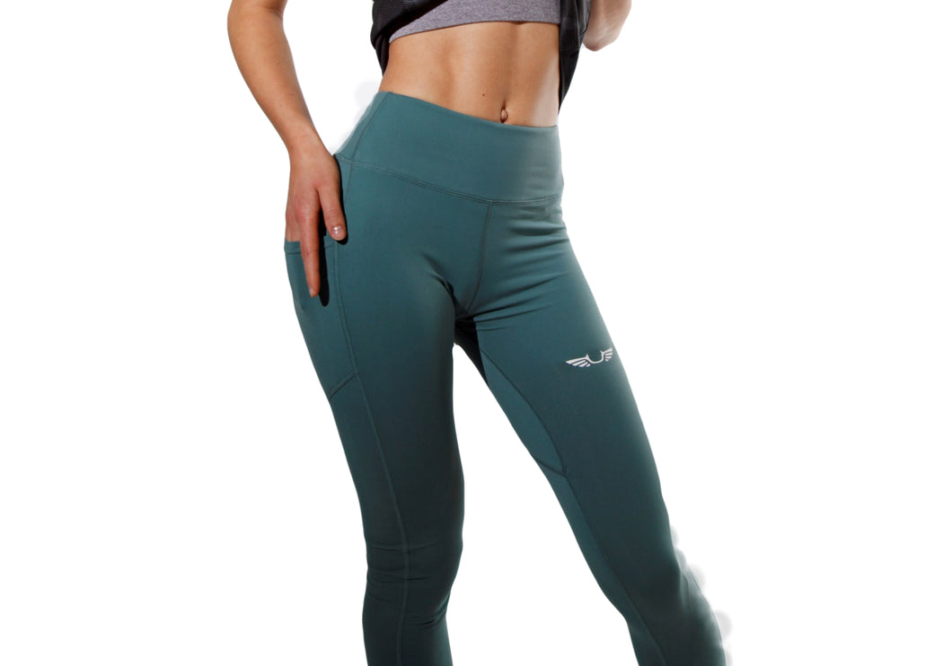Womens Olive Leggings (full length)-UltroSport