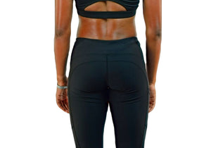 Womens Black Leggings (3/4 length)-UltroSport