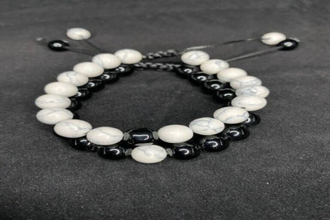 White and Black Smooth Lava Stone Bracelet Pair