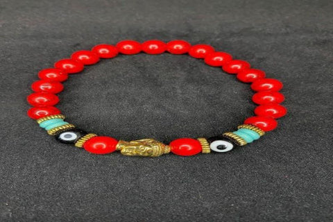 Red Buddha and Evil Eyes Chakra Stone with Gold Buddha Head Bracelet