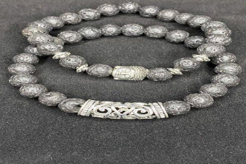 Gray Buddha Lava Stone Bracelet with Silver Accents
