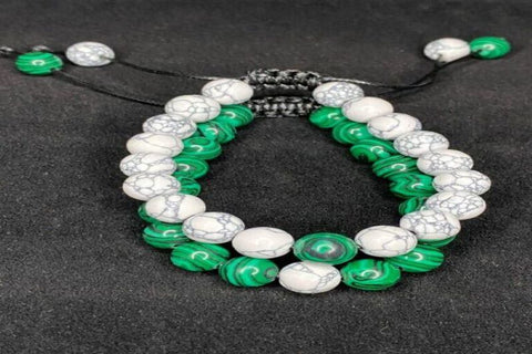 Malachite White and Green Stone Bracelet Pair