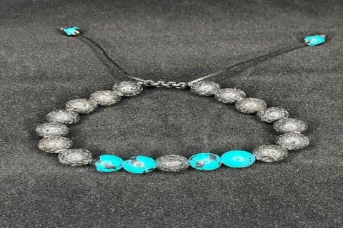 Gray and Turquoise Lava Stone Bracelet with Ties